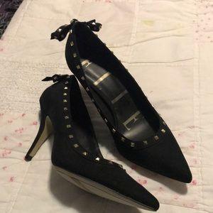 Elle Black Suede Studded Heels sz 8 1/2